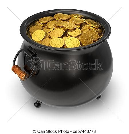 drawings of black pot of gold coins pot of gold coins csp7448773 search clipart