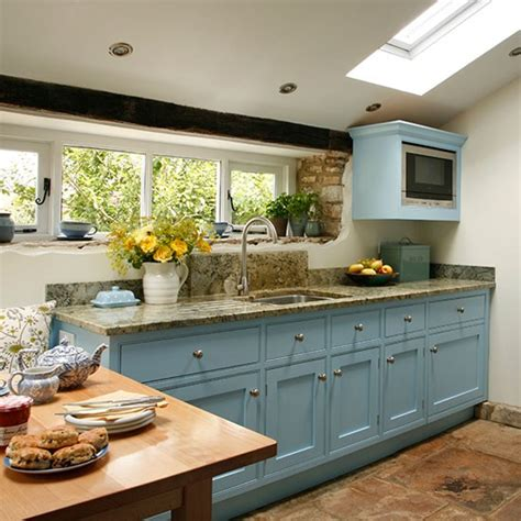 Be Inspired By This Blue Country Kitchen  Makeover