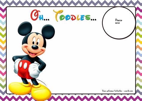 mickey mouse birthday invitations template chevron