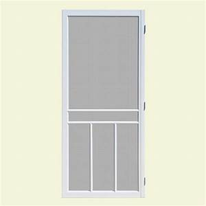 unique home designs 32 in x 80 in newport white outswing With unique home designs screen door
