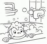 Curious Coloring George Bathing Pages Printable Monkey Bathroom Bath Drawing Halloween Colouring Sheets Printables Taking Cartoon Print Take Clipart Getdrawings sketch template