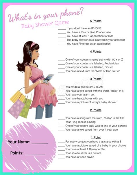 what s your phone baby shower whats in your phone