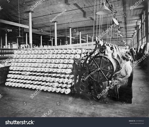 Women Working Textile Machines Beaming Inspecting Stock