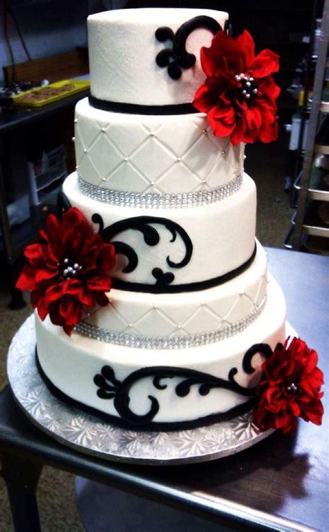 Red Black And White Wedding Cake With Diamond Ribbon