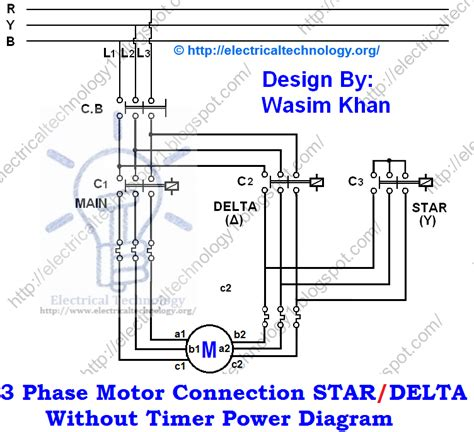 three phase motor connection delta without timer