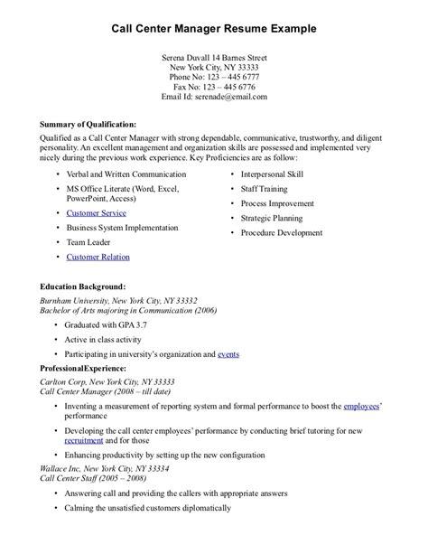Call Centre Sample Resume
