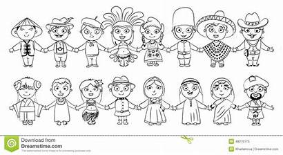 Nationalities Coloring Background Isolated Dreamstime Clothes Vector