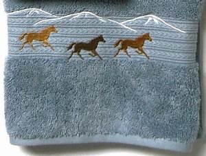 Horses Embroidered 3 pc Smoke Bath Towel Set