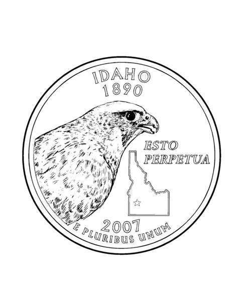 idaho state quarter coloring page usa coloring pages