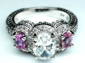engagement ring stones engagement ring three oval vintage engagement ring with pink sapphires side