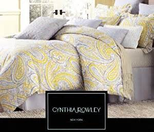 cynthia rowley 3pc duvet cover set paisley ikat silver grey mustard yellow luxury cotton sateen