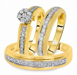 3 4 carat diamond trio wedding ring set 14k yellow gold With yellow gold wedding ring set