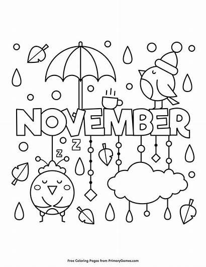 Coloring November Fall Pages Printable Primarygames Colouring