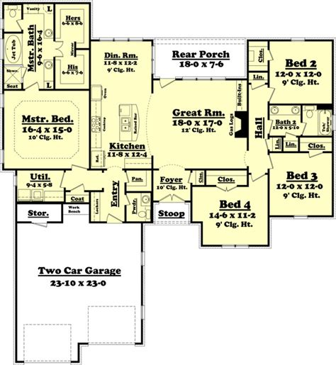 great room house plans one traditional style house plan 4 beds 2 5 baths 2175 sq ft