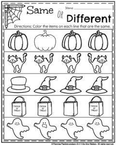 october kindergarten worksheets planning playtime 560 | Halloween Kindergarten Worksheets Same or Different. 240x300