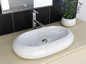 Waschbecken Oval Aufsatz : neg waschbecken uno25a oval aufsatz waschschale waschtisch wei mit breitem rand und nano ~ Orissabook.com Haus und Dekorationen