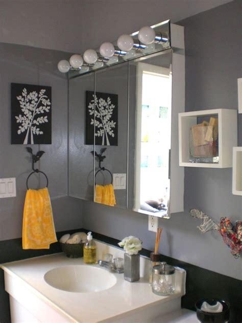 Gray Bathroom Decor, Black Grey And Yellow Bathroom Black