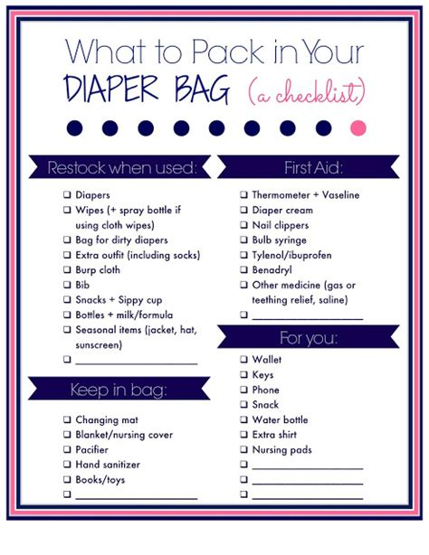 Laura's Plans What To Pack In You Diaper Bag A Free