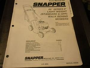 Snapper Push Mower 20 U0026quot  Series 0 Illustrated Parts List
