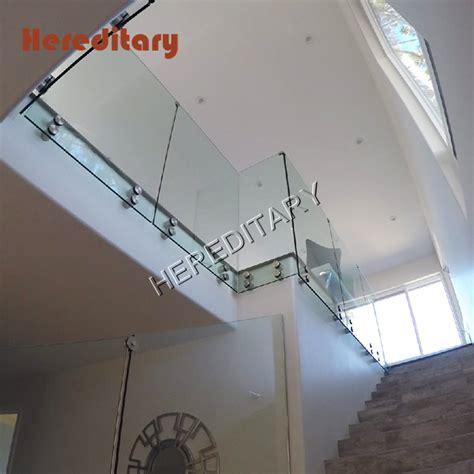 indoor frameless floor  ceiling tempered glass railings