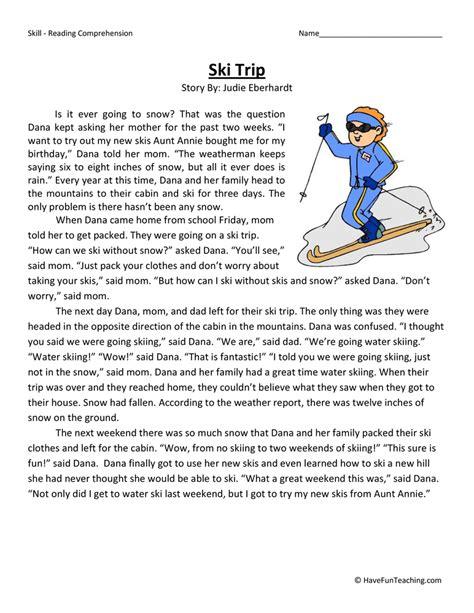 Ski Trip  Reading Comprehension Worksheet