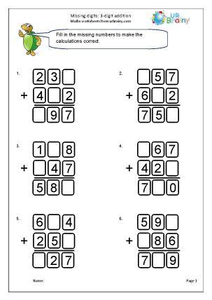 written addition missing digits  addition maths