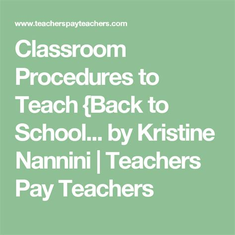 Classroom Procedures and Routines - Back to School ...