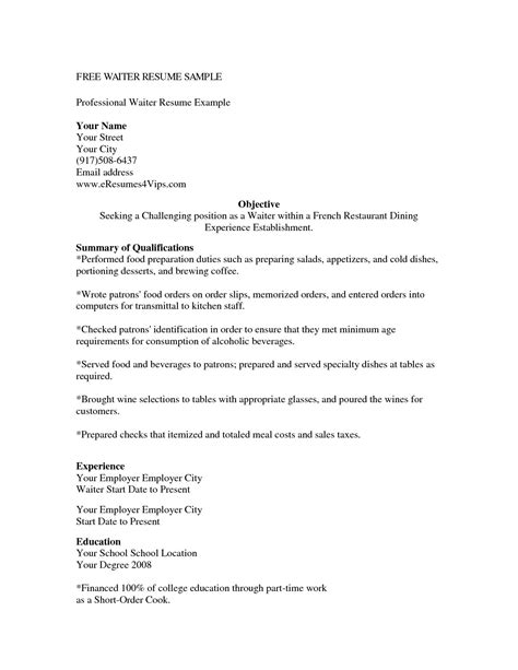 Exle Of A Server Resume by Cover Letter Resume For Waitress Position Exle Within