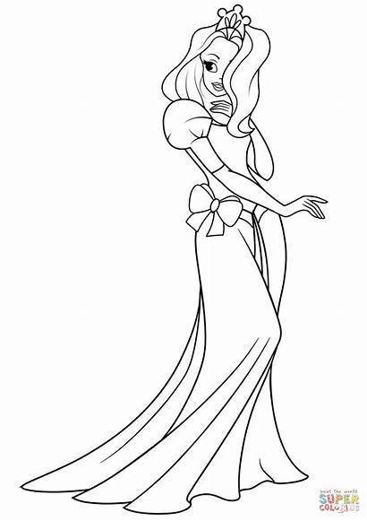 Princess Coloring Pages Pretty Printable Drawing Paper