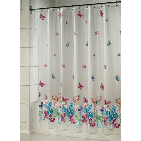 vinyl shower curtain essential home shower curtain butterfly border vinyl peva