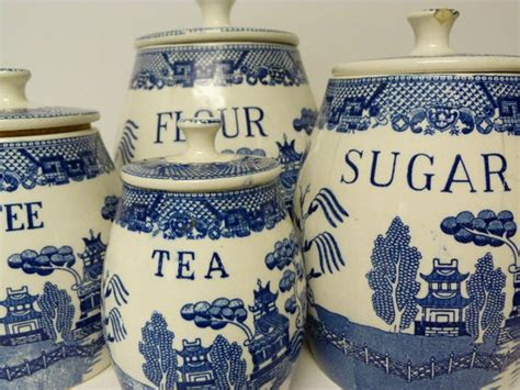 vintage  piece blue  white canister set willow