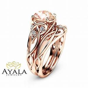 2 carat morganite engagement rings 14k rose gold ring set With rose gold morganite wedding rings