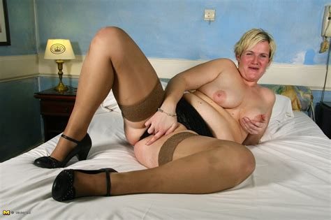 Sexy Tan Stockings On A Lusty Blonde Dutch Wife