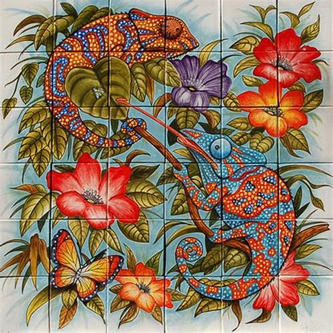 mexican style mural camaleones mexican tile designs