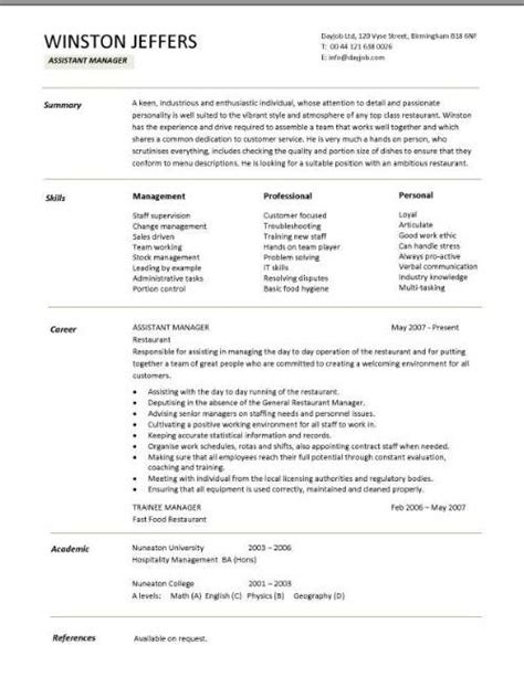 Employee Resume Format by Restaurant Assistant Manager Resume Templates Cv Exle