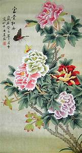 Fortune Original Chinese Peony Painting Wall Scroll ...