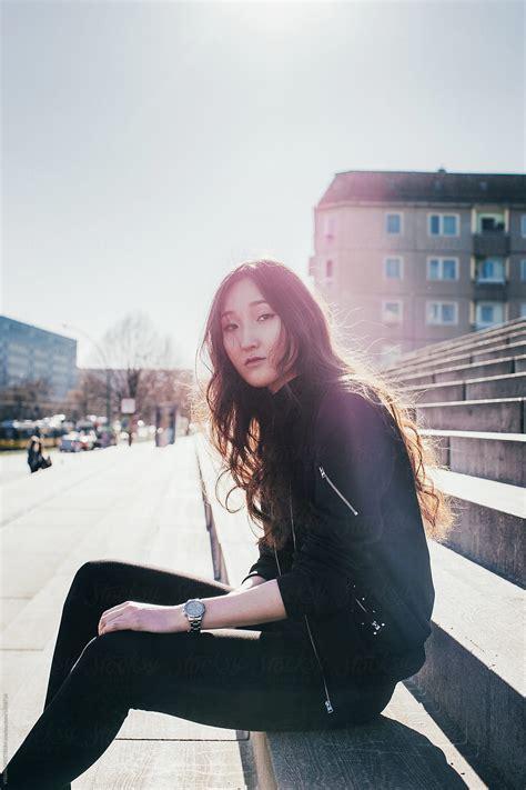 berlin street style cool mongolian girl wearing black