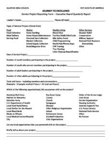 service project reporting form quapaw area council