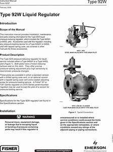 Emerson Type 92w Pressure Reducing Regulator Instruction