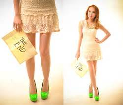 Wicked Ying Lace Dress Neon Pumps Pinkaholic Green
