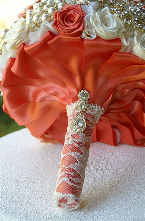 Coral Peach Gold Wedding Brooch Bouquet Deposit By