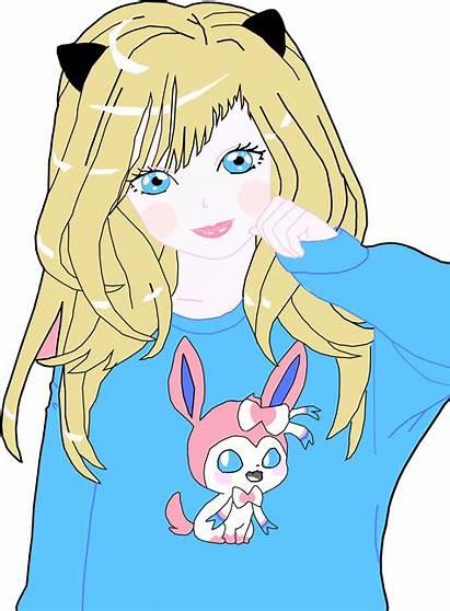 Clipart Anime Cat Blonde Woman Transparent Svg
