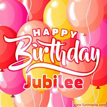Jubilee Birthday Happy Gifs Colorful Funimada Balloons
