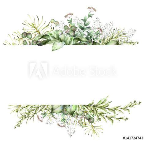 card watercolor invitation design  herbs  leaves