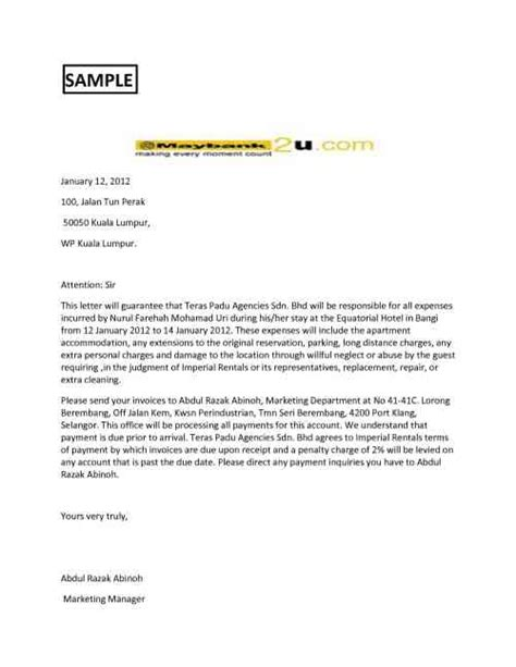 letter  guarantee banking finance english  easy