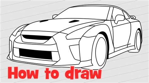 nissan skyline drawing step by step how to draw a car nissan gt r nismo 2017 quick youtube