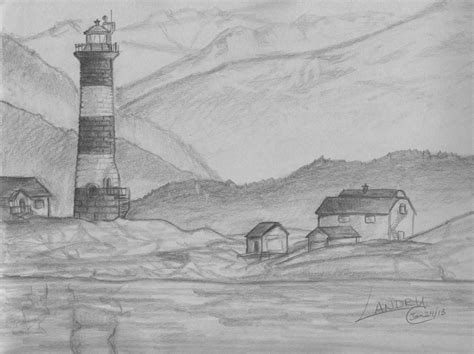 Pencil And In Color Drawn Landscape