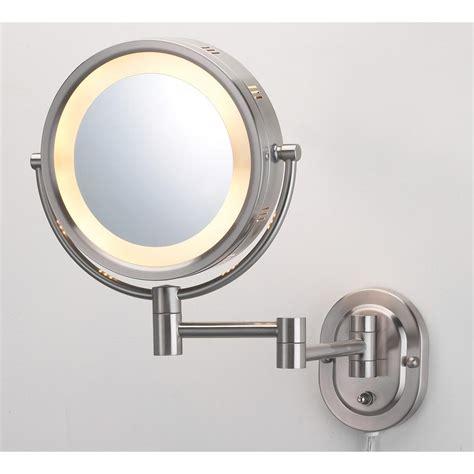 jerdon 9 75 in x 13 75 in lighted wall mirror in nickel