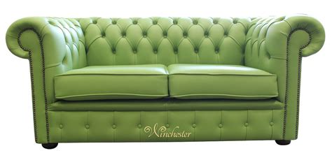 green settee chesterfield 2 seater apple green leather sofa offer