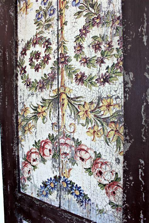 large wood panel shutters  antique design pair